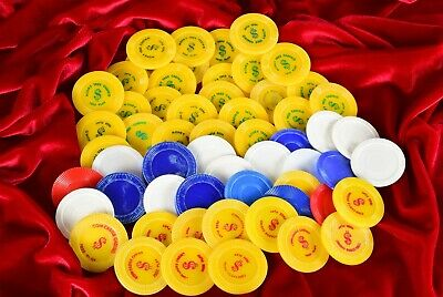 57 Piece Lot Plastic Casino Tokens/Chips ~ Coin Castle/Money Tree/Blank
