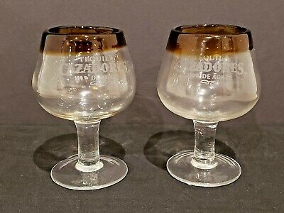 """Two NEW Cazadores Tequila Hand Blown Shot / Dessert Glasses 4"""" Tall Brown Rim"""