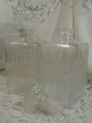 2 Vintage Crystal Pressed Glass Square Diamond Point BarWare Decanters w/Stopper