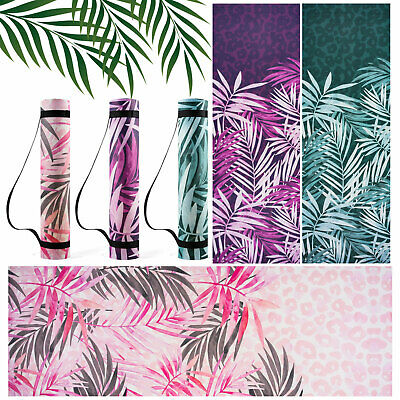 Yoga Mat For Pilates Gym Exercise Carry Strap 6mm Thick Large Leaf Print Nonslip