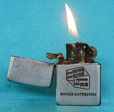Rare Collectable Vintage 1940's Chrome Advertising Zippo Lighter.