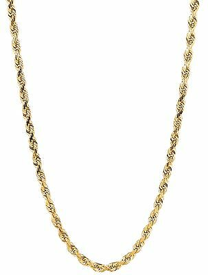 "14kt Solid Yellow Gold D/C ROPE Pendant link Chain/Necklace 16""   2.5 mm 5gr"