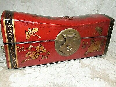 OLD Chinese Wood Box Red Leather Cover Gold Phoenix Dragon Motifs Brass Trims