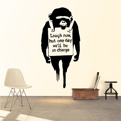Banksy Laugh Now Chimp Wall Decal Removable Sticker Vinyl Decor Art Transfer Ape