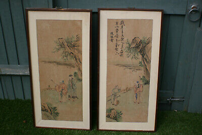 Pair of Chinese Ink Watercolour Painting & Calligraphy on Rice Paper - Signed