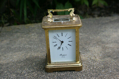 Vintage Rapport London 9 Jewels Unadjusted Brass & Glass Carriage Clock -Working