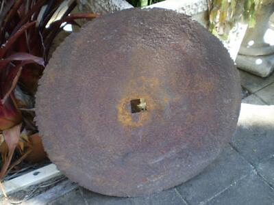 Vintage steel off set plough disc 51cm diamiter garden art man cave item