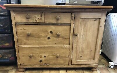 Unique Country Farmhouse Antique Victorian Pine chest of Drawers With Cupboard