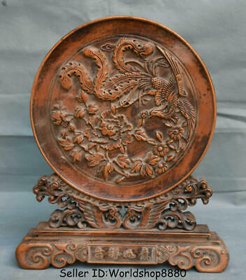 """14"""" Old Chinese Dynasty Huanghuali Wood Carving Phoenix Birds Flower Luck Screen"""