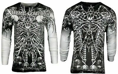 Xtreme Couture by AFFLICTION Mens THERMAL T-Shirt CATACOMBS Skull Biker Gym $58