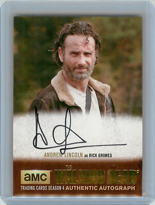 2016 Cryptozoic Walking Dead S4 GOLD Autograph Andrew Lincoln Rick Grimes SP /25