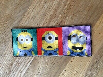 Completed Cross Stitch Bookmark - Minions