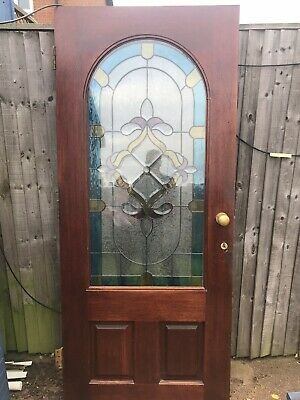 Stained Large Glass Leaded Door with Frame and Window