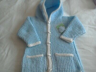 Hand-knitted  child's blue  and white Cardigan with hood  size 20 inch chest