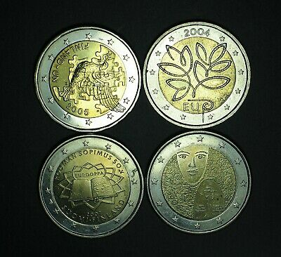 2004 + 2005 + 2006 + 2007 FINLANDE 2 euro COMMEMORATIVE circulated
