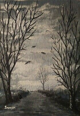 """ORIGINAL ACRYLIC  PAINTING ACEO """"HALLOWEEN NIGHT"""" signed by artist"""
