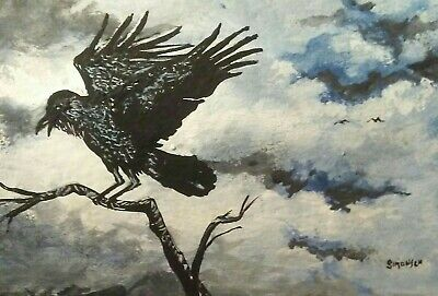 """ORIGINAL ACRYLIC  PAINTING ACEO """"THE RAVEN"""" signed by artist"""