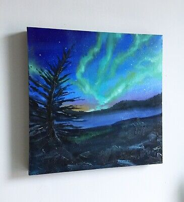 ORIGINAL Oil Painting - Into The Night - Borealis Northern Lights Landscape