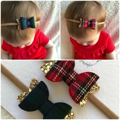 Set of 2 Tartan Christmas Baby Girl Toddler Felt Glitter Hair Bows Headband