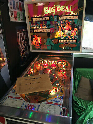 BIG DEAL PINBALL MACHINE by WILLIAMS 1977 4 PLAYER GREAT CONDITION