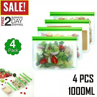 Reusable Food Storage Silicone Bags Leak-Proof Fresh Ziplock Produce Bag 4 PC