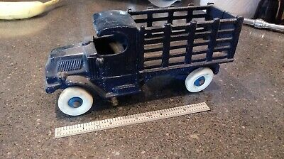Antique Blue Champion Stake Bed Truck Cast Iron