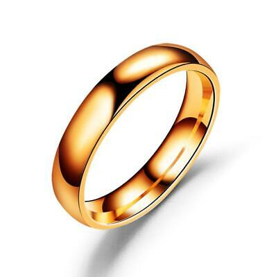 4mm Women Stainless SteelPolished Wedding Engagement Band Ring Rose Gold Sz5 FS