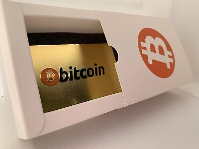 CryptoCurrency Hard Steel Wallet Address Card with Designer Drawer box Bitcoin