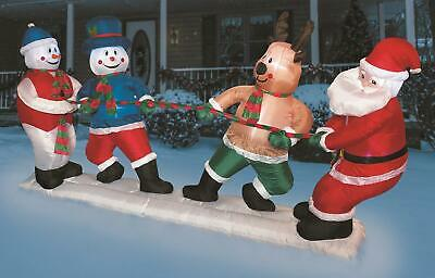 10' Santa & friends LED Light Up Inflatable Christmas holiday Yard outdoor decor