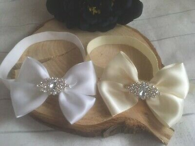 Baby Girl White Ivory Christening Headband Baptism Wedding Bow Naming Hairband