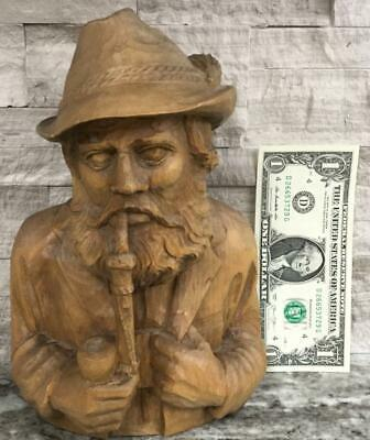 Antique Hand carved German Black forest bust man smoking pipe Sculpture smoker