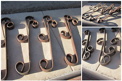4 Vintage WROUGHT IRON ART Deco BRACKETS Decorative Antique Metal Works Scrolls
