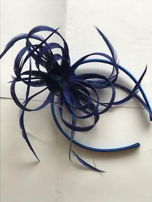 Royal  Blue Feather Headband Aliceband Fascinator Ladies Day Weddings Races 28