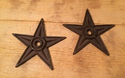"Center Hole Cast Iron Star Anchor Plates Rustic X-Large 9"" (Set of Two) 02105"