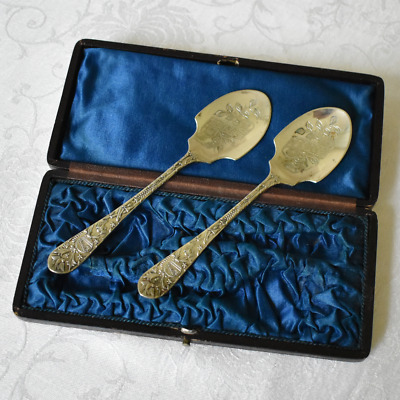 Antique British Presentation Spoon Set AB & Co Silver Plate in Box 1868-1883