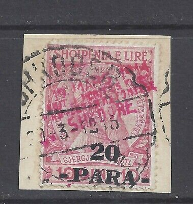 ALBANIA 1914 Shkodër Provisional Issue 20pa. on10q. Used on small piece SG 39c