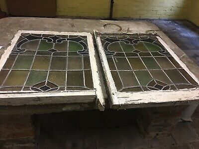 Matching Pair 2 Stained Glass Windows Leaded Lights Panels
