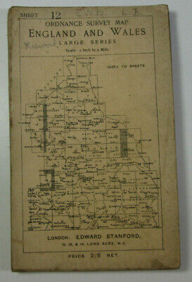 1907 Old OS Ordnance Survey One-Inch Third Edition Map 12 Whitehaven & Keswick
