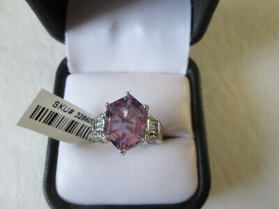 Rose De France Amethyst Platinum over Sterling Silver Ring (Size 8) TGW 5.72 cts