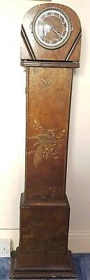 Mid c.20 English F. Hinds mantle pendulum clock, on pedestal, oriental scene