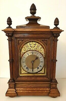 Excellent Antique Oak Ting-Tang Winterhalder & Hofmeier Bracket Clock