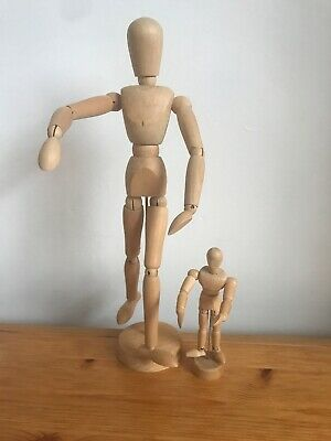 2 X Wooden artist's model poseable mannequins Large & Small