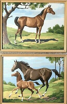 2 Vintage 1960's Paint By Number HORSE PONY PONIES with frames