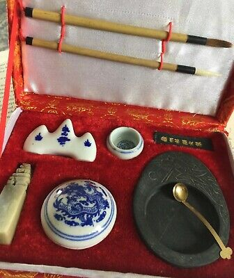 Old Chinese Calligraphy 9 Piece Set Preowned & Unused