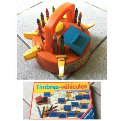 Lot Tampons Fisher Price Manège Animaux + boîte de tampons véhicules Ravens..