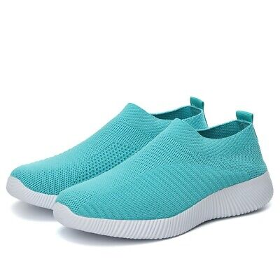 Women Casual Flat Knit Sneakers Slip On Comfort Sport Shoes Candy Color Fashion
