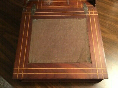 19th Century Walnut Lap Desk Writing Box Decorative Inlay Drawers