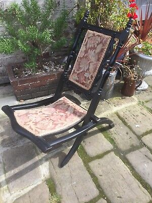 Antique 19th century Victorian ebonised folding Anglo -Indian campaign chair