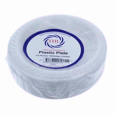 Plastic White Disposable Plates Pack of 100 Christmas Party dish uk