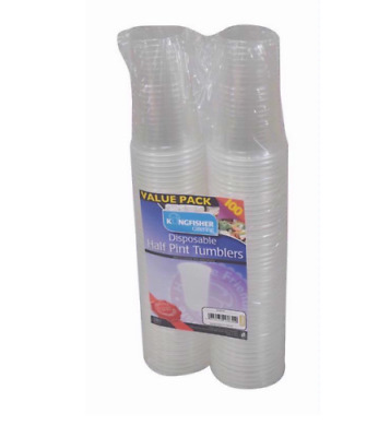 Clear Strong Disposable Plastic Beer Glasses Party Cups Tumblers uk